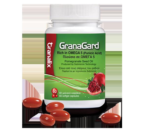 Granagard - Πλούσιο σε ωμέγα 5. Έλαιο από τους σπόρους ροδιού για να κρατήσουμε το μυαλό μας ζωντανό! Προστασία του νευρώνα με την αντιοξειδωτική δράση του πουνισικού οξέος.Pomegranate Seed Oil - PSO